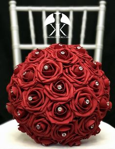 RED Flower Ball with BLING RHINESTONE GEMS. 12 Flower Ball is pictured with Rhinestone Gems.  RED Flower Ball made with PREMIUM Real Touch Roses. Add Bling Rhinestone Gems in roses or Pearl Brooches between the roses to add a little more bling to your special day! You will be amazed at how real and Corsage Wedding, Bling Wedding, Chic Wedding, Lilac Wedding, Yellow Wedding, Burgundy Wedding, Wedding Signs, Luxury Wedding, Peacock Wedding