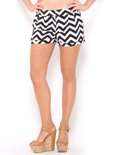 #Chevron Printed High Waisted #Shorts