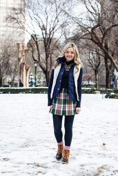 cute outfit with snowboots