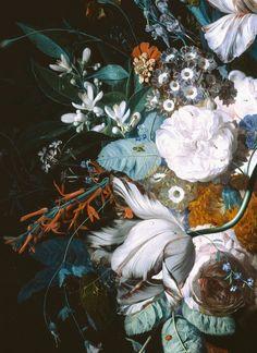 """paintingses: """" """" Vase with Flowers (detail) by Jan van Huysum (1682-1749) oil on panel, c. 1720 """" """""""