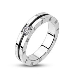Stainless Steel Center Groove Cz Gem Roman Numeral Side Ring Size 5,6,7,8(Fl157)