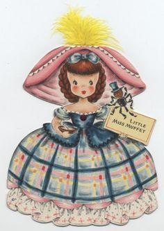 VINTAGE HALLMARK LAND MAKE BELIEVE PAPER DOLL CARD - LITTLE MISS MUFFET