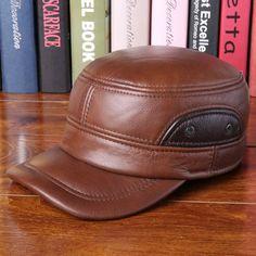 High-quality Cowhide Genuine Leather Baseball Cap Earflap Earmuffs Fleece Linen Adjustable Military Hat - NewChic