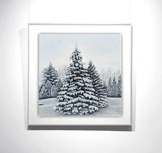 CHRISTMAS tree painting oil painting 6x6in by OilpaintingsChrista