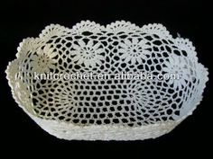 100% mão Knit Crochet cestos de armazenamento, Mão Crochet do laço do Vintage cesta