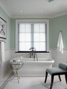 bathroom remodel white wainscoting green walls beautiful floor tiles