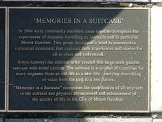 `Memories in a Suitcase` recognises the contribution of all migrants to the cultural and physical advancement and enhancement of the quality of life in the City of Mount Gambier. South Australia, Australia Travel, Sarah Hanson Young, Physics, Suitcase, Classroom, Memories, Sculpture, Comics