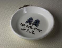 for the SciFi fans, R2D2 ring holder Pillow alternative Ceramic Ring Holder R2D2  MR & MRS by aphroditescanvas on Etsy