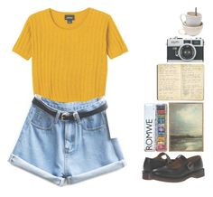 """""""Watercolors"""" by nymphetdream ❤ liked on Polyvore featuring Monki, Dr. Martens, John-Richard and Moleskine"""