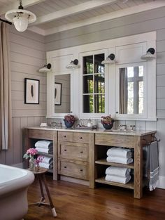 Whimsical lakeside cottage retreat with cozy interiors on Lake Keowee is part of Lake house bathroom - A rustic lakeside cottage designed by architects T S Adams Studio along with Westbrook Interiors is located on Lake Keowee, South Carolina Bathroom Trends, Bathroom Renovations, Bathroom Interior, Bathroom Makeovers, House Remodeling, Remodeling Ideas, Ikea Interior, Bathroom Hacks, Bathroom Furniture