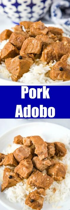 Pork Adobo - This Filipino Pork Adobo is made with pieces of pork that are cooked in soy sauce, vinegar, and garlic. The sauce is rich and tasty and perfect served over rice! Pork Recipes For Dinner, Italian Dinner Recipes, Beef Recipes, Cooking Recipes, Easy Recipes, Easy Meals, Easy Family Dinners, Delicious Dinner Recipes, Easy Weeknight Dinners