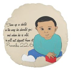 Train up a child in the way he should go round pillow - drawing sketch design graphic draw personalize