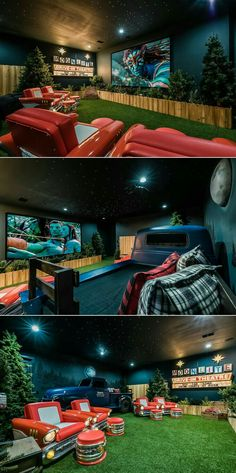 Awesome drive-in themed home theater in an Orlando vacation villa! Check out tho… Awesome drive-in themed home theater in an Orlando vacation villa! Check out those cool seats! Movie Theater Rooms, Home Theater Seating, Home Theater Design, Movie Rooms, Movie Theater Basement, Small Movie Room, Home Cinema Room, Drive Thru Movie Theater, Home Theatre Rooms