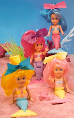 My Pretty Mermaids :: Original Set 1990's toys dolls. Betsy and I each had one. Mine had the pink hair and yellow bow!