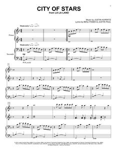 Download Piano Duet sheet music to City Of Stars by Ryan Gosling & Emma Stone and print it instantly from Sheet Music Direct.