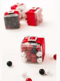 Black white red candy favor