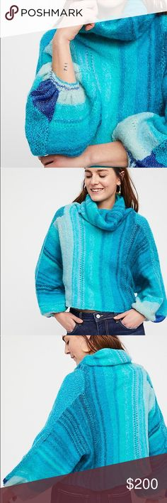 FREE PEOPLE. Vibrant Blue Cowl Neck Sweater FREE PEOPLE. Vibrant Blue Cowl Neck Sweater. New with tags never worn, just doesn't fit. Free People Sweaters