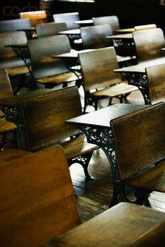 Desks in Old-Fashioned School House - ©Photo Walter Bibikow
