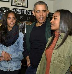 President Obama, Malia and Sasha
