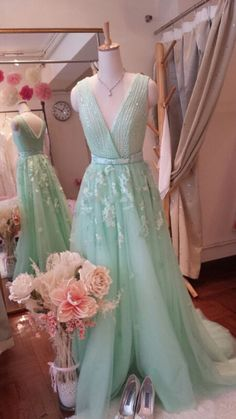 Mint Green Blink Blink Evening dress ( Aline silhouette, delicate hand sew beading, elie saab inspired) by blinkbridalcouture on Etsy
