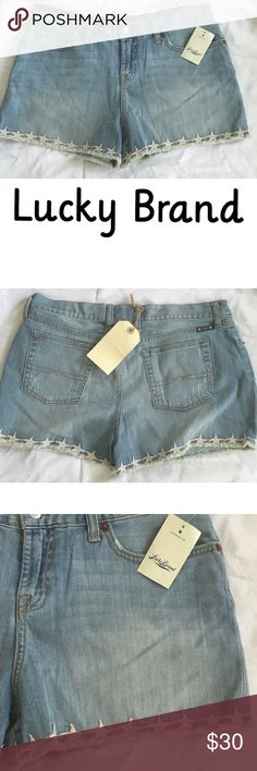 ❗️Final 🎀3 For $30 NWT Lucky Brand Shorts NWT Lucky Brand shorts. Features stars on the bottom with fringed hem. Size 8/29 Lucky Brand Shorts Jean Shorts