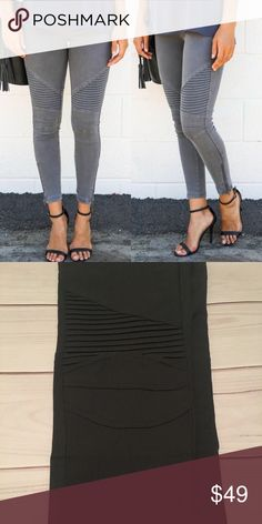 🆕🍁Charcoal Moto Jeggings🍁 High quality  Functional ankle zippers 60% cotton, 35% nylon, 5% spandex  S/M fits sizes 2-6 (8 if you don't mind them tight) L/XL fits sizes 8-12 (14 if you don't mind them tight) *color is darker in person, please note last picture* Pants Leggings