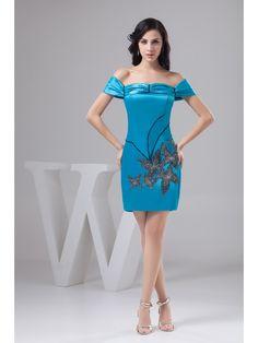 Mini/Short Embroidery Short Sleeves Sheath/Column Homecoming Dress on nextdress.co.uk