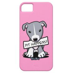 """Pit Happens"" - lol love it!  KiniArt #pitbull iPhone cases sold at Zazzle by Contemporary PUP #Artist Kim Niles. #dogs"