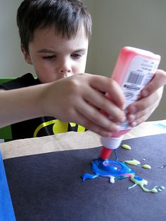 Art Exploration With Colored Glue - - Pinned by #PediaStaff.  Visit http://ht.ly/63sNt for all our pediatric therapy pins