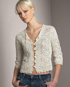 """This post was discovered by Mic """"Crochet vintage jacket PATTERN, detailed tutorial for every row, trendy crochet blouse pattern, crochet designer cardigan Crochet Bodycon Dresses, Black Crochet Dress, Crochet Coat, Crochet Jacket, Crochet Cardigan, Crochet Clothes, Crochet Vintage, Mode Crochet, Knit Art"""