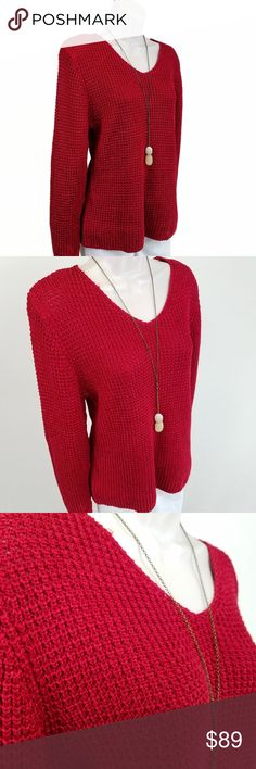 NWT Salvatore Ferragamo red silk sweater NWT long sleeved v-neck sweater in substantial, silky deep red knit  (cover shot & tag photo are most representative of true color).  Bust 18 / length 24 inches.  100% silk. Salvatore Ferragamo Sweaters