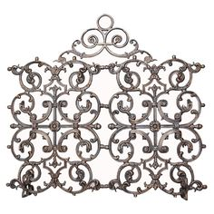 Classic Two-Panel Arch Iron Fireplace Sceen Fireplace Screens, Paneling, Gas Logs, Fireplace Accessories, Fireplace, Iron