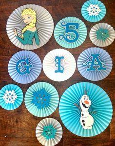 Frozen Themed Paper Rosettes Set of 12 Frozen Themed by #pleatsonsheets