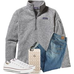 School by liveloveshopfashion on Polyvore featuring Patagonia, American Eagle Outfitters, Converse, Casetify, women's clothing, women's fashion, women, female, woman and misses