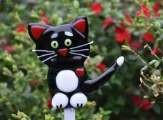 black and white fused glass cat
