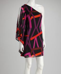 Take a look at this Black & Fuchsia Venture Asymmetrical Dress by Body Language on #zulily today!
