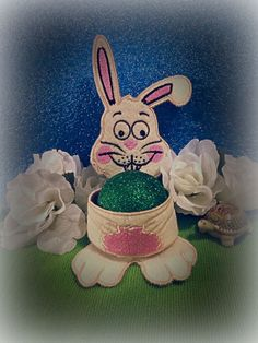 Egg Holder, Easter Eggs, Snow Globes, Machine Embroidery, Embroidery Designs, Bunny, Christmas Ornaments, Sewing, Create