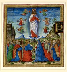 A cutting from a sixteenth-century Italian Antiphoner, a miniature depicting Christ's Ascension into heaven, surrounded by angels and with the twelve apostles kneeling below; the Virgin Mary is identifiable by her star-adorned blue mantle. (Additional 17864C C). (British Library)