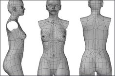 female upper body in subdivision mode