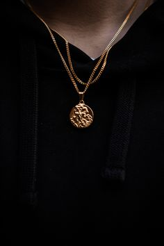 Gold St George Pendant Necklace by Midnight City Necklace Guide, Necklace Length Guide, Men Necklace, Simple Necklace, Fashion Jewelry Necklaces, Fashion Necklace, Jewellery, Gold Jewelry, Modern Jewelry