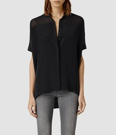 Damen Fleet Shirt (Black/Black) -