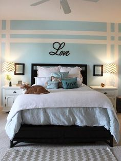 Brick wallpaper bedroom accent walls 36 ideas for 2019 Blue Master Bedroom, Accent Wall Bedroom, Master Bedrooms, Bedroom Yellow, Bedroom Black, Bedroom Frames, Bedroom Neutral, Striped Walls Bedroom, Striped Accent Walls