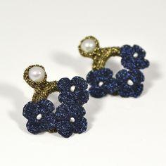 Hand Crocheted Flower Earrings - Blue by Atelier Godole