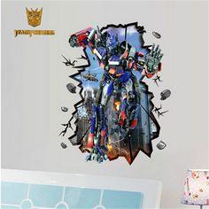 Home Décor Large Transformer Optimus Prime 3d Window Wall Decals Removable Sticker Kids Art