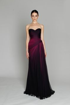 Dark fuchsia ombré chiffon strapless side ruched gown with draped skirt from the Pre-Fall collection