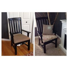 Old to new...Captain's chair for dining table.  Free chair and clearnance curtain used for fabric.