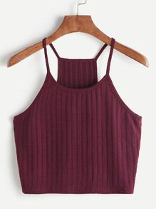 Shop Ribbed Knit Racer Back Cami Top online. SHEIN offers Ribbed Knit Racer Back Cami Top & more to fit your fashionable needs. Cami Tops, Cami Crop Top, Crop Tank, Cropped Cami, Halter Crop Top, Cute Tank Tops, Basic Tank Top, Crop Top Outfits, Summer Outfits