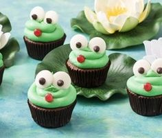 Frog Cupcakes: They'll be hopping mad with these deliciously cute frog cupcakes. http://www.bakers-corner.com.au/recipes/allens/frog-cupcakes/
