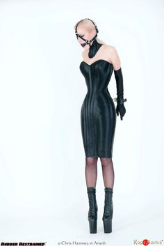 Gagged in Neck- and Bodycorsett Strapless Dress, Bodycon Dress, Corset Dresses, Hobble Skirt, Tiny Waist, Small Waist, Straight Jacket, Leather Corset, Womens Fashion
