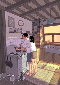 20 Ilustrações que relatam a vida de um casal que se ama incondicionalmente Love Cartoon Couple, Cute Couple Comics, Cute Couple Art, Anime Love Couple, Cute Couple Drawings, Anime Couples Drawings, Cute Drawings, Hipster Drawings, Pencil Drawings